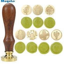 Mogoko – sceau de cire classique en bois rétro, sceau de cire pour enveloppe, tampon Antique romarin/lavande/feuille de Monstera/plantes de Cactus