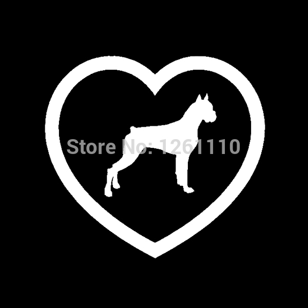 Boxer heart sticker dog puppy love window vinyl decal for car suv truck window bumper free shipping in car stickers from automobiles motorcycles on