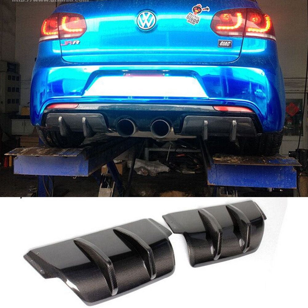 Golf 6 R20 Carbon Fiber 2PC Car Styling Rear Bumper Splitter cover trim for Vilkswagen MK6 R20 Bumper