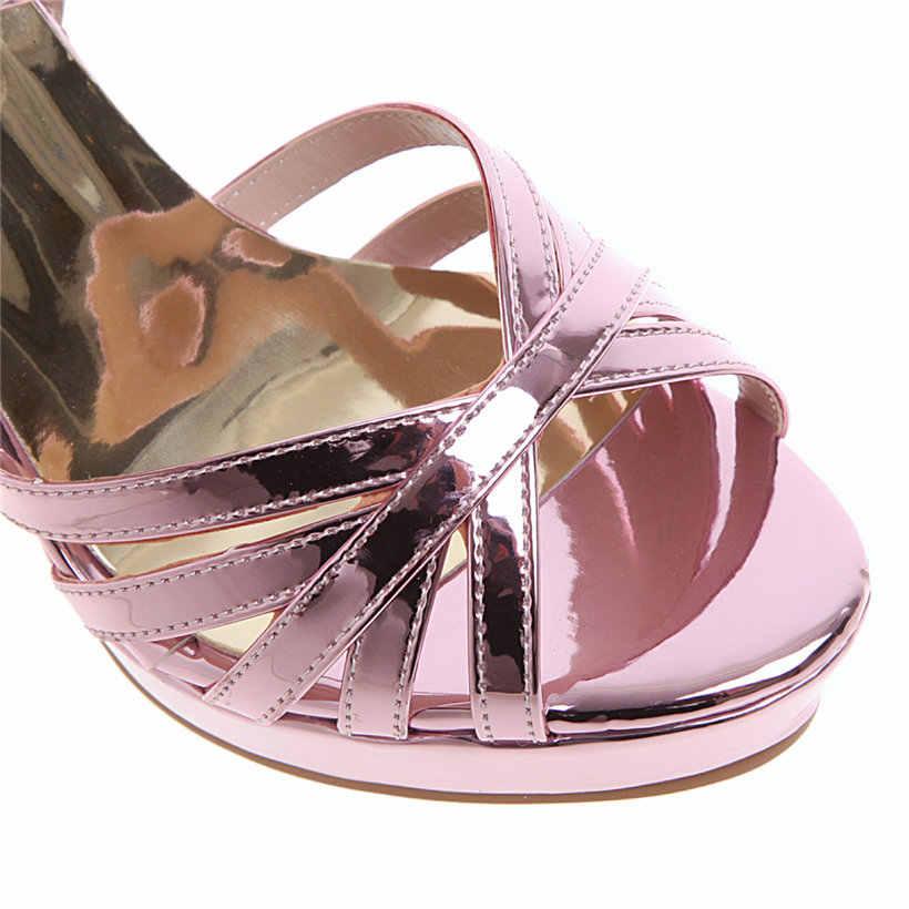 Женские ботинки-гладиаторы; Босоножки на платформе; высокий массивный каблук; серебряное Золотое розовое; для свадьбы; для офиса; с пряжкой; на ремешке; летняя пикантная женская обувь