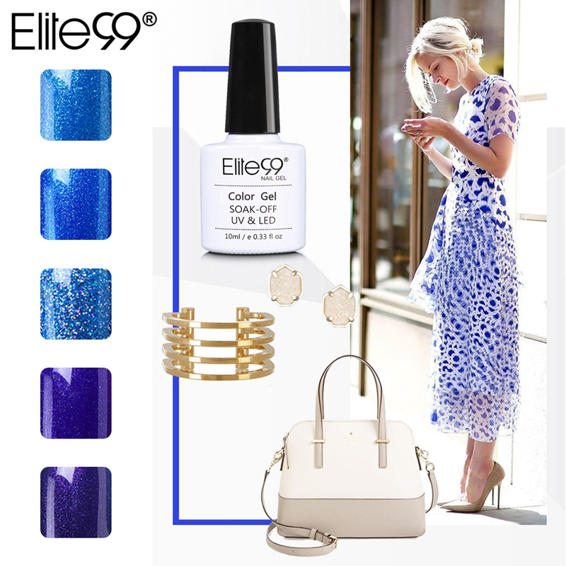 Elite99 10ml Blue Color Series Nail Gel Polish Cured