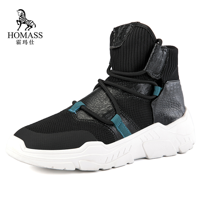 Marque Hommes Sneakers Hiver Homme Respirant Courir Sport Chaussures Chunky Chaussette  Chaussures High Top Maille Hommes c7147a0136d9