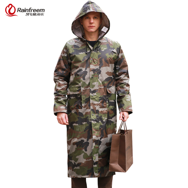 69b696615c21e Rainfreem Camouflage Men Raincoat Impermeable Rain Jacket Poncho Extra  Large S-6XL Highing Rainwear Army Green Rain Gear