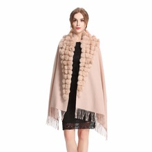 ZY87001 Fashion Womens Autumn Winter Wool With Rabbit Fur Pompon Warm Tassel Shawl Scarf