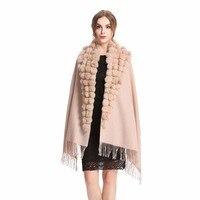 QS0001 Fashion Womens Autumn Winter Wool With Rabbit Fur Pompon Warm Tassel Shawl Scarf Wrap 13