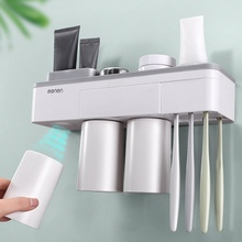 New Magnetic Adsorption Inverted Toothbrush Holder Makeup Cleanser Phone Toothpaste Bathroom Storage Wall Mount Set