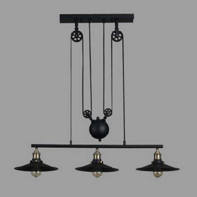 Винтажный подвесной светильник в стиле лофт с регулируемым шкивом, подвесной светильник для кухни, светодиодный подвесной светильник в стиле ретро, промышленный светильник из кованого железа