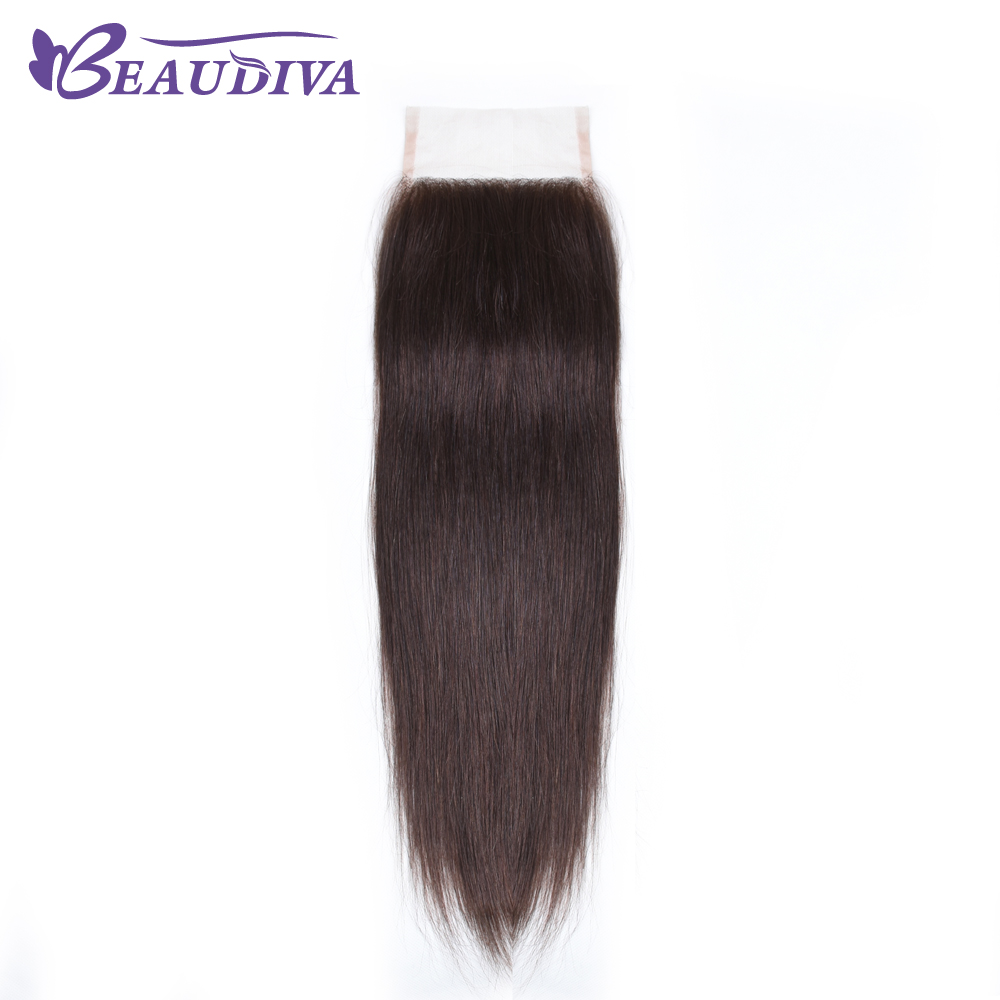 BEAUDIVA Brazilian Straight Hair 2# Lace Closure 4*4 Free Part Closure 100% Human Hair S ...