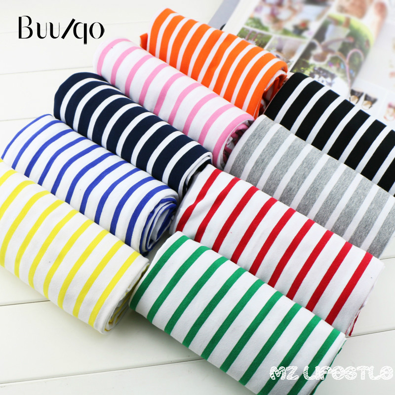 Buulqo stretchy striped cotton fabric lycra cotton knitted jersey fabric DIY sewing T-shirts dress fabric by half meter