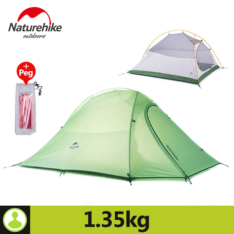 Naturehike Outdoor 1 Person Camping Tent Ultralight 20D Silicone Fabric Double layer Rainproof 210T Plaid Fabric Beach Tent naturehike 1 person camping tent with mat 3 season 20d silicone 210t polyester fabric double layer outdoor rainproof camp tent