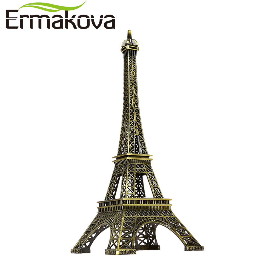 ERMAKOVA 25cm Eiffeltårnet Figur Eiffel statue Metal Paris Figur World Famous Landmark Building Home Office Decor (Bronze)
