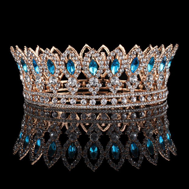 New Arrival Magnificent Golden big crown Queen diadem Fashion Noble blue crystal Round crown for Bride Wedding Hair accessories