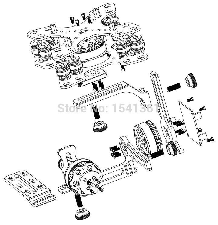 Dys 3 Axis Gimbal Mount Kit 3pcs 4108 Brushless Motor For Sony