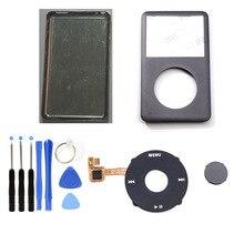 グレーグレーフロントフェイスプレートシルバーバックカバーハウジング黒クリックホイールグレーボタン ipod 6th 7th 世代のクラシック 80 ギガバイト 120 ギガバイト 160 ギガバイト