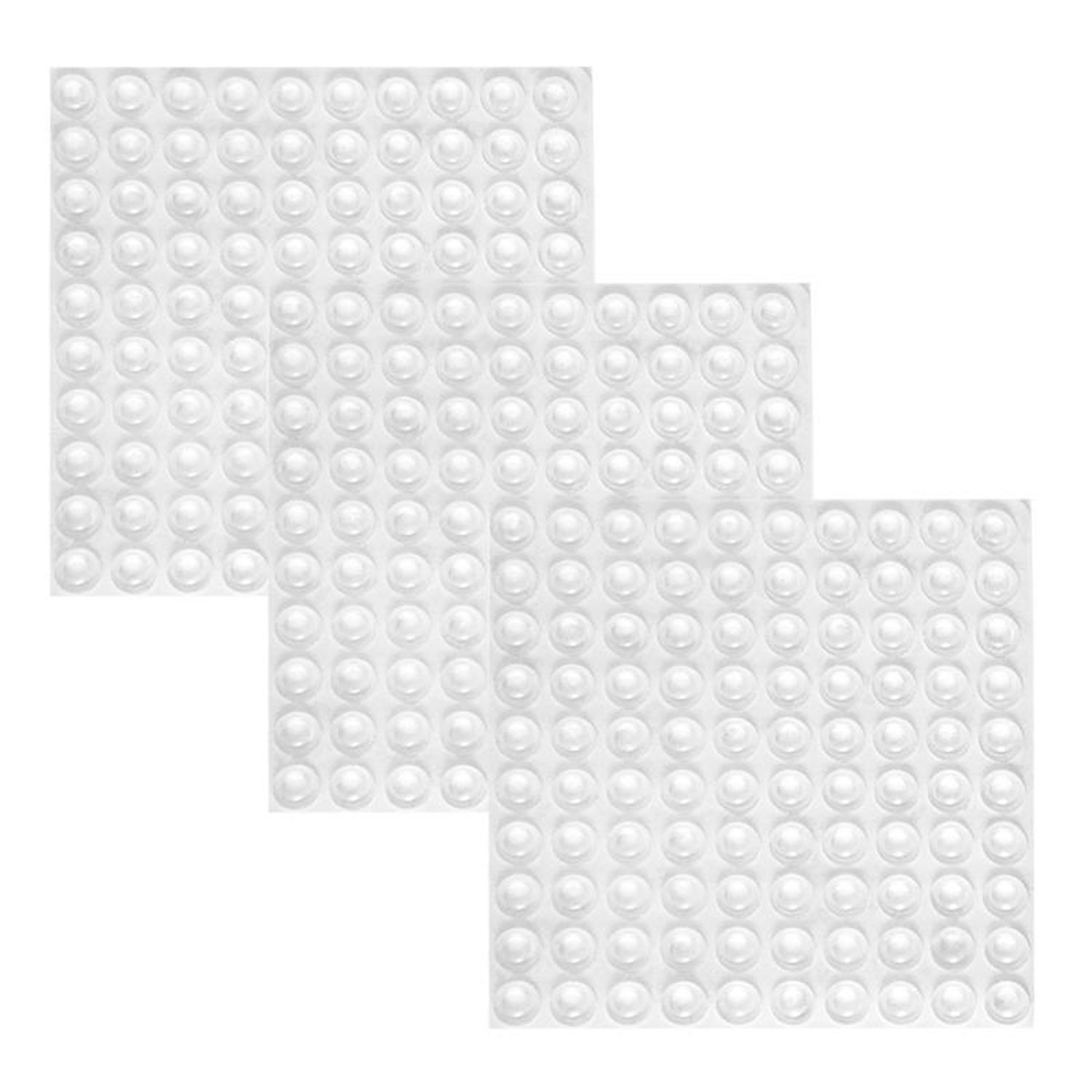 Practical Boutique 300 Pieces Clear Rubber Feet Adhesive Door Bumpers Pads Sound Dampening Cabinet Buffer Pads, 8.5 By 2.5 Mm