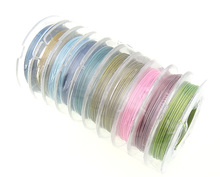 Free Shipping 10ROLLS Tiger Tail Beading Wire Crystal Thread Mixed Color Elastic 0.38mm 10m/PC, 10PCS/Lot, Sold by Lot