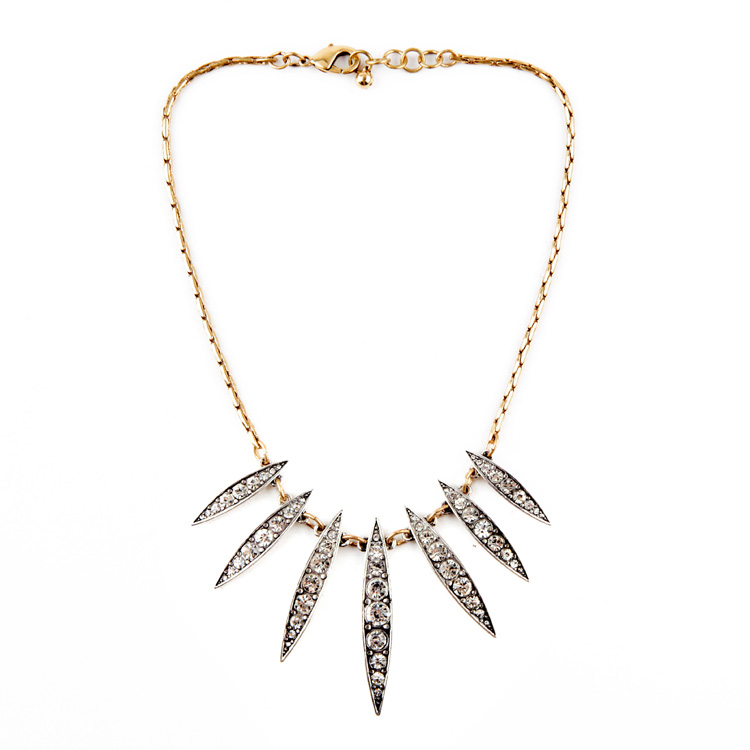 2015 Online Top Selling Chokers Necklace Diamante Leaf Statement