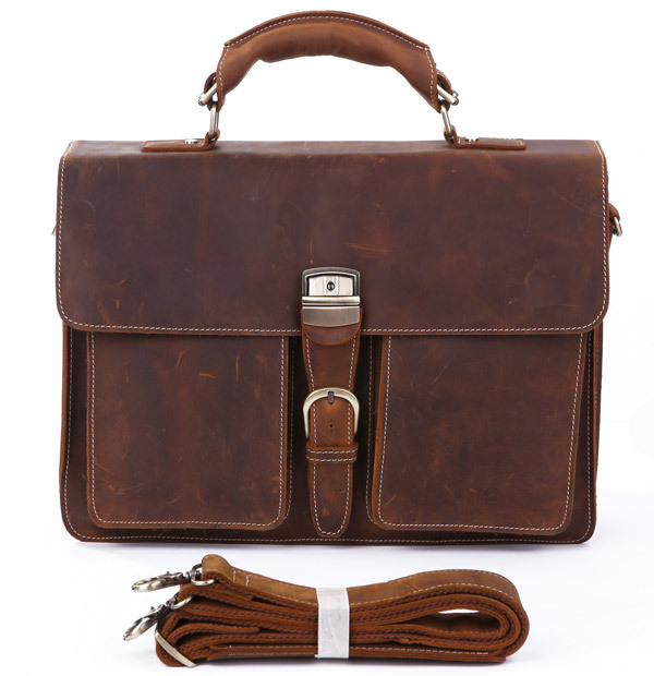 Nouveau Style Rare Crazy Horse cuir sac à main porte-documents pochette d'ordinateur pour hommes 7164R