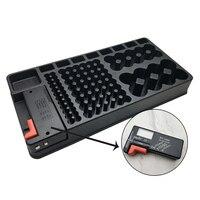 Ferramenta pequena bateria testador de plástico uso doméstico grande capacidade organizador caso armazenamento portátil removível para aaa aa 9v c d baterias