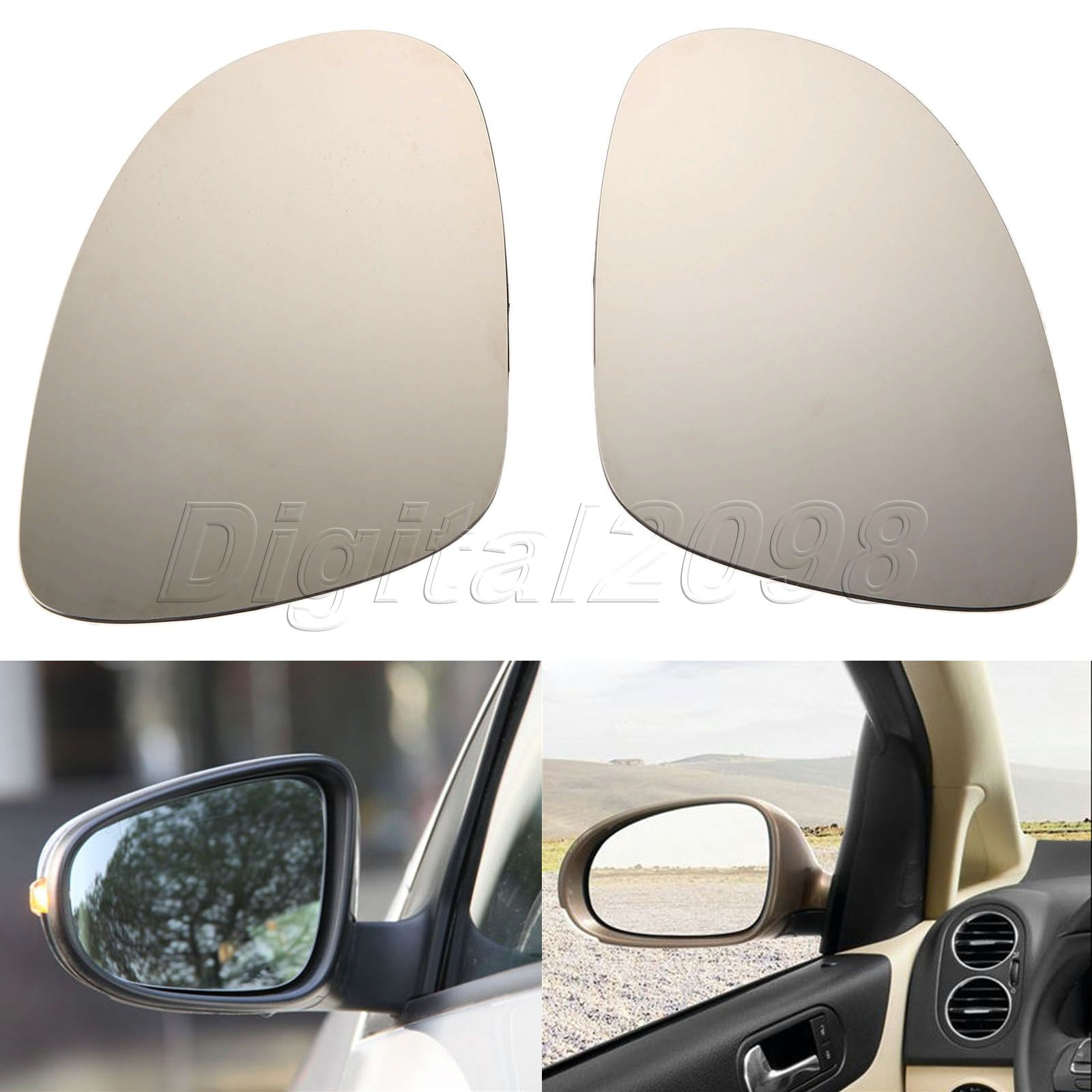 2Pcs Heated Door Wing Mirrors Glass Left Right Side For VW GOLF JETTA MK5 PASSAT B6 EOS R32 Rabbit Car Rearview Heating Mirror