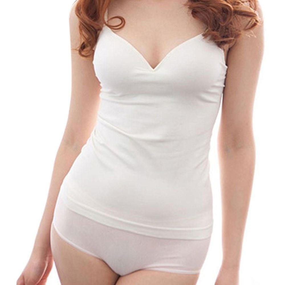 Seksikas seksikad naised Blusas V Neck Tops Naiste polsterdatud rihmad Camis pehme särk Topid M L