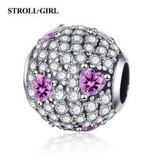 Strollgirl New Fit Pandora Bracelet 925 sterling silver Full White CZ Round Beads Heart Pink Charms for Women DIY Jewelry