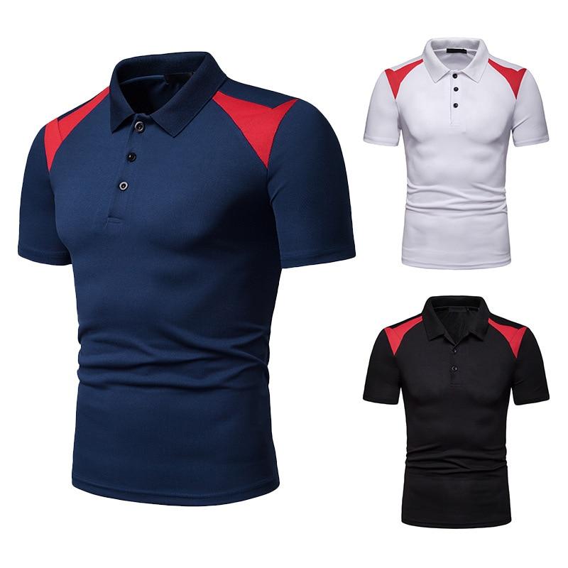 Trendy   Polo   Shirt Men Fashion Patchwork Male   Polo   Shirt Turn-Down Collar Men's   Polo   Short Sleeve