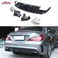 Задний спойлер с выхлопными наконечниками для Mercedes CLA Class W117 CLA260 CLA45 2013-2018 PP плавники Shark Style Diffuser plate