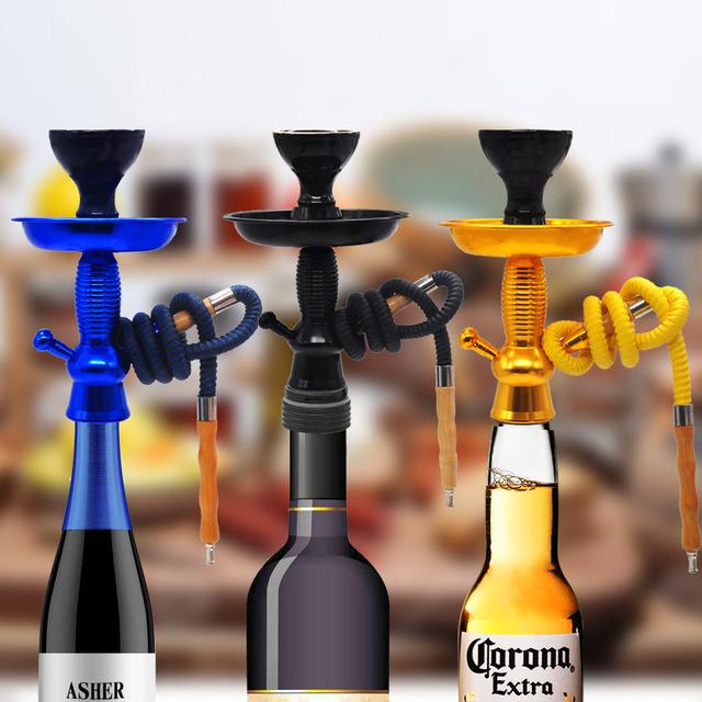 Hookah Shisha Champagne/Wine Bottle Top Hookah Stem Kit HOOKITUP Aluminum Hookah Chicha Complete Set With Bowl And Hose