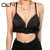 OLN Bralette Crop Top Summer 2018 Sexy Top Black Haut Femme Camisole Femme Brandy Melville Party