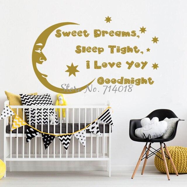 Sweet Dreams Sleep Tight Wandtattoo Mond Sterne Vinyl Wand aufkleber ...