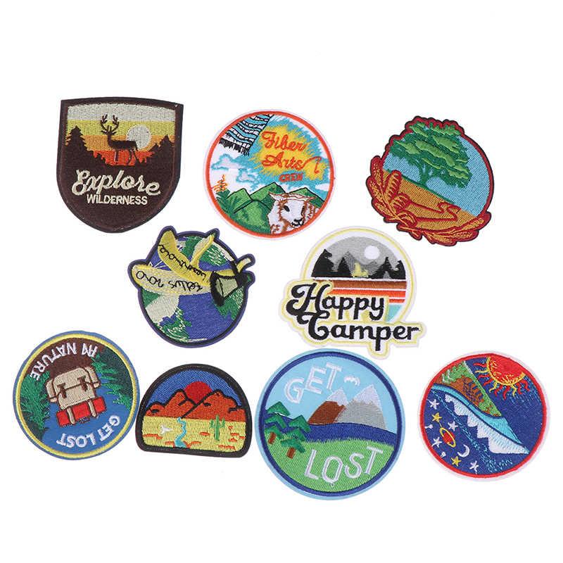 Nieuwe Vervoer Borduurwerk Ronde Patches voor T-shirt Ijzer op Strepen Kleren Stickers Naaien Toepassingen Hippie Badges