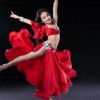 Kids Girls Belly Dance Costumes Silk Satin Sexy Indian Dress Oriental Dance Costumes Children Belly Performance Show Wear DN1613
