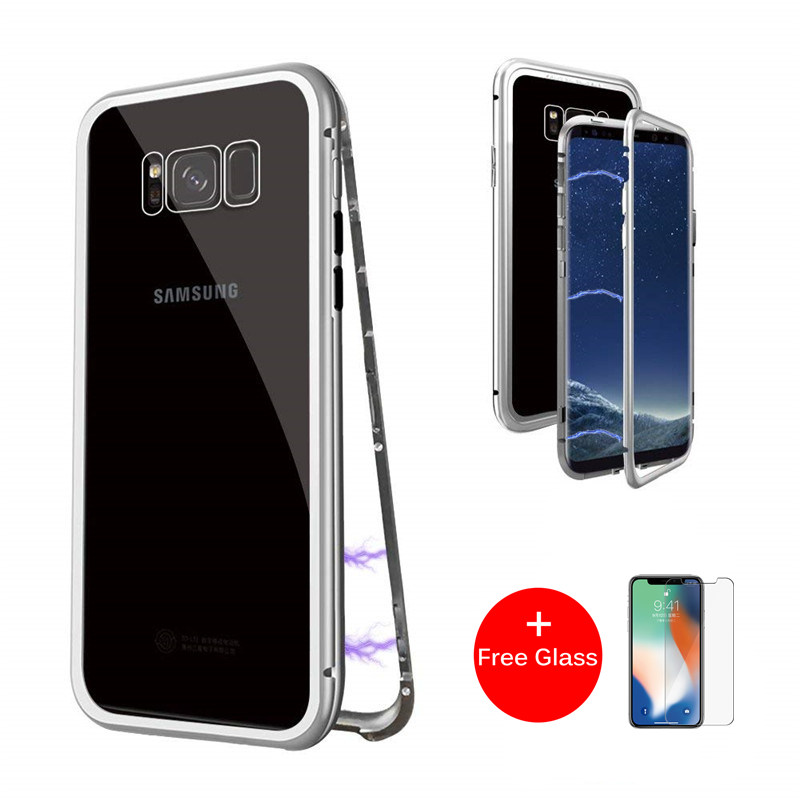 Magnetic Adsorption Flip Phone Case for Samsung Galaxy S8 S9 Plus Note 8 9 S7 Edge Cases Magnet Metal Tempered Glass Back Cover