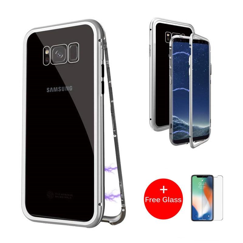 Magnetische Adsorption Flip Telefon Fall für Samsung Galaxy S8 S9 Plus Hinweis 8 9 S7 Rand Fällen Magnet Metall Gehärtetem glas Zurück Abdeckung