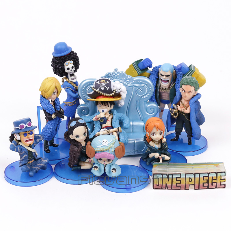 Anime One Piece 20th Anniversary Luffy Zoro Sanji Robin Nami Chopper Usopp Brook Franky Q Version Mini PVC Figure Toys 10pcs/set барабан к галтовке robin 20