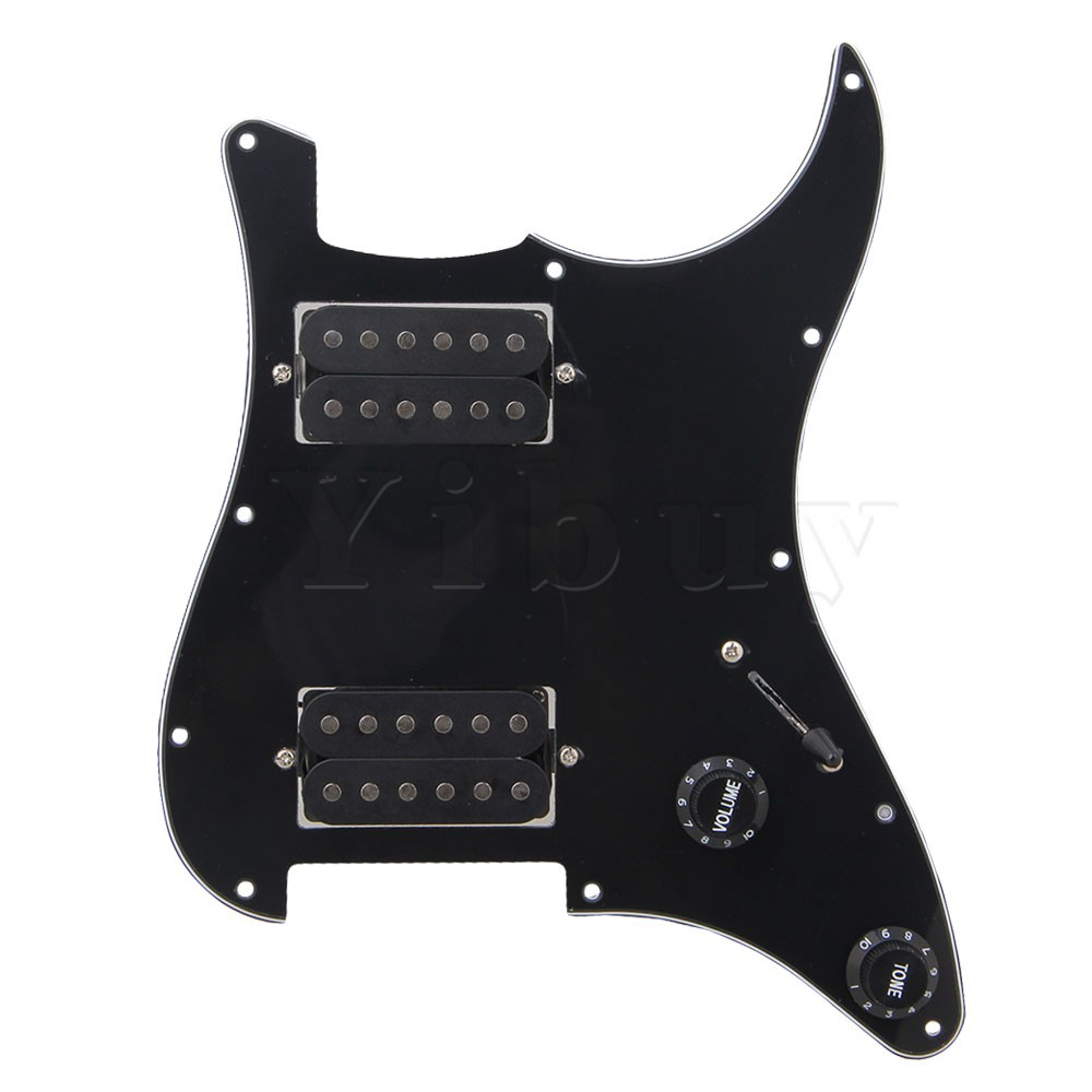 Yibuy BK Loaded Pickguard,Dual Humbuckers For Electric guitar musiclily 3ply pvc outline pickguard for fenderstrat st guitar custom