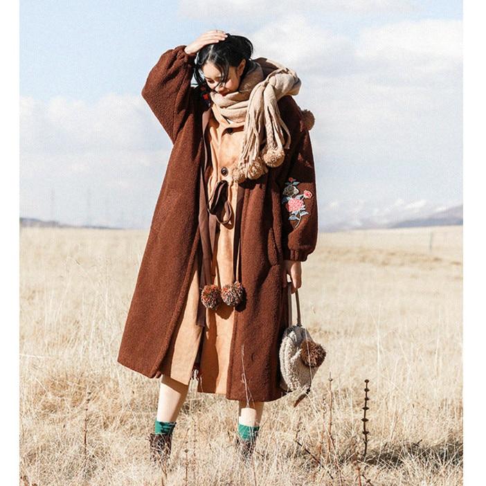 Nouveau Femmes Shown À Pièces Capuche Manteau As 2019 En D'agneau D'hiver Gland Overzised Longue Veste Épais Chaud Faux Pic Broderie Costume Laine Deux XZiuPk