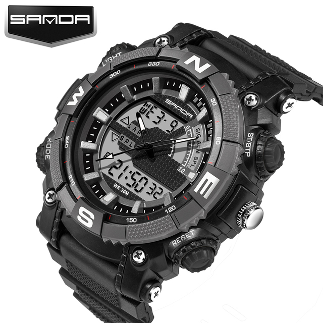 Sanda deporte de la moda super cool hombres digital reloj de los hombres relojes deportivos marca de lujo led militar impermeable relojes de pulsera relogio