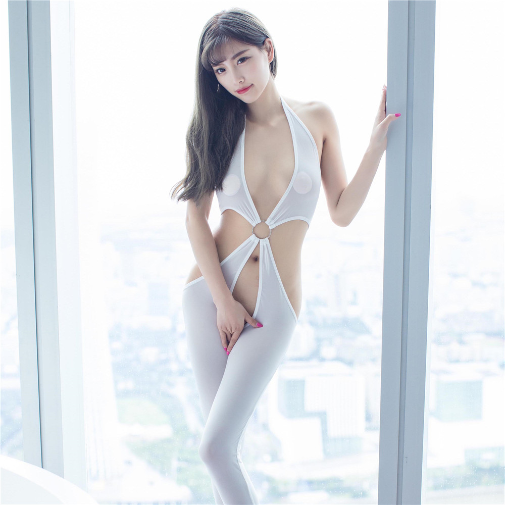 New Solid Color High Elasticity Swim Cloth Perspective Metal Ring Lingerie Bodysuit Sexy Bodystocking Catsuit Body Suit Lenceria