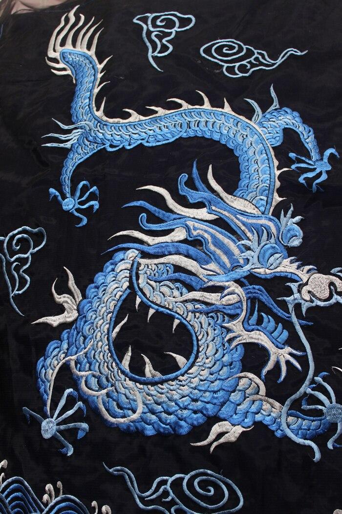 Applique de broderie de fond de fil de motif de Dragon ondulé de vague bleue de Style chinois patchs grands accessoires de vêtement grands Parches