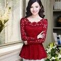 Новые 2016 Мода повседневная женщины блузки рубашки с длинным рукавом hollow Кружева топы Плюс размер Оборками женщины шифона рубашку