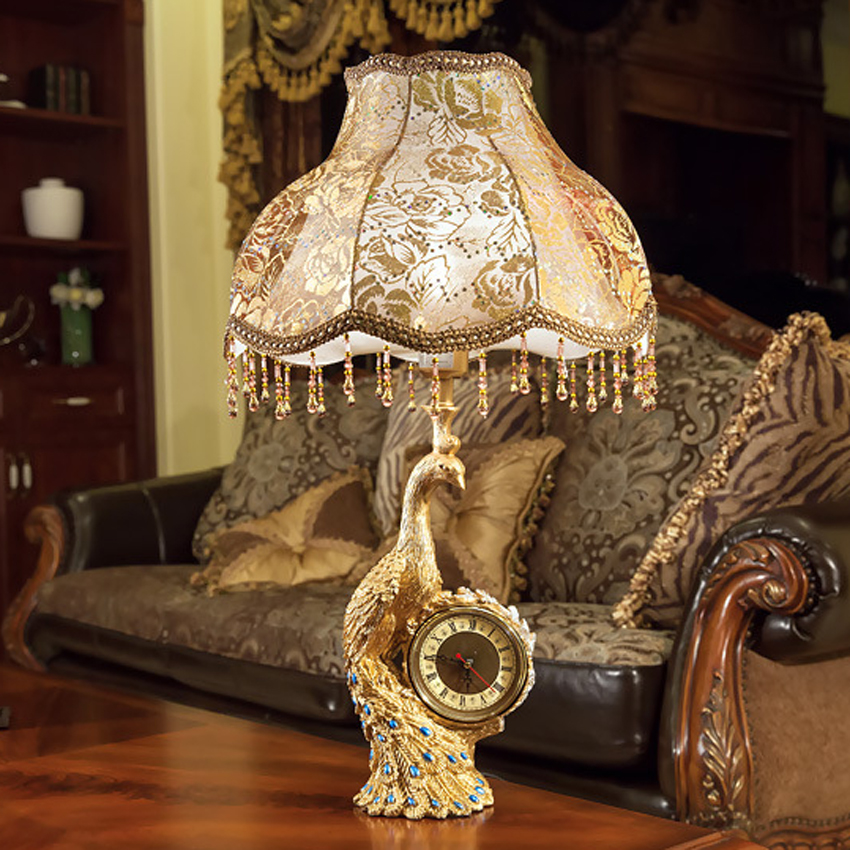 New European style luxury table lamp cloth lampshade resin stand antique bedside deco table light retro