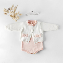 Everweekend Sweet Toddler Baby Girls Crochet Sweater Cardigans Rompers Candy Cream Pink Color Spring Autumn Clothes
