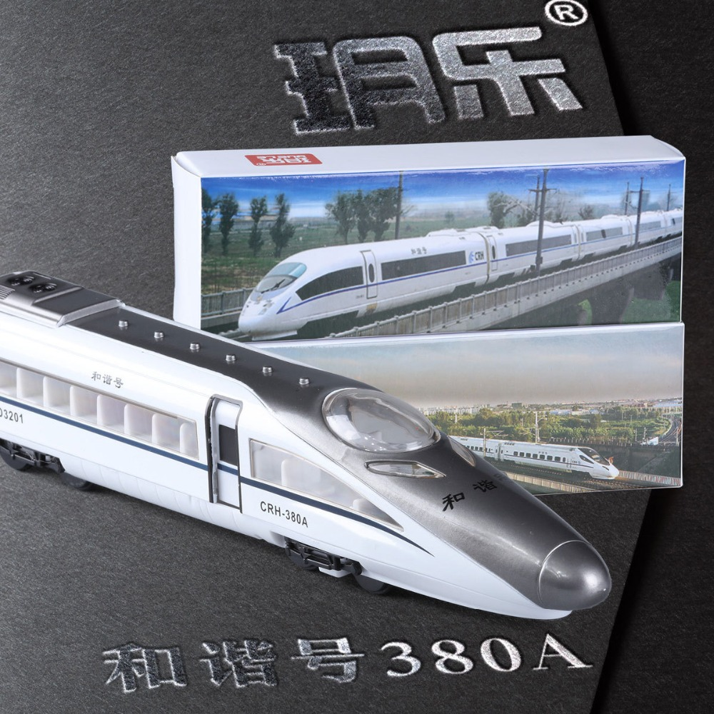 Die Casting Alloy High Speed Rail Train Model Sound and Light Pull Back Children Boy Toy Boxed Gift