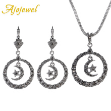 Ajojewel New Model Black Crystal Rhinestone Moon And Star Jewellery Pendant Necklace Earring Sets For Women Vintage Jewelery a suit of graceful rhinestone moon necklace and earrings for women