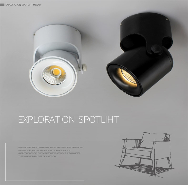 85 265vac Input 3w 5w Led Surface Mounted Plasterboard Ceiling Lamp Rotatable Cob Accent Spot Light For Background Painting