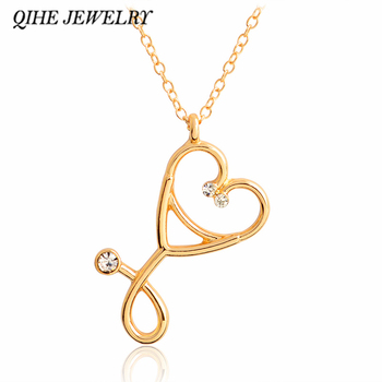 QIHE JEWELRY Stethoscope necklace Heart stethoscope pendant with rhinestone necklace Doctor Nurse Graduation Medical Gift