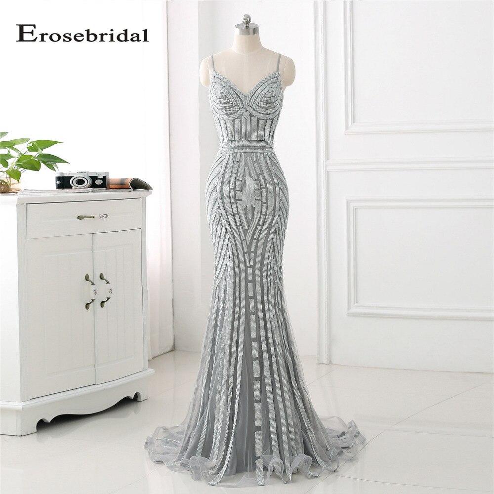 48 Hours Shipping Sliver Mermaid Long   Evening     Dress   2018 Erosebridal Off The Shoulder Formal Gowns Sliver Crystal ZLR017