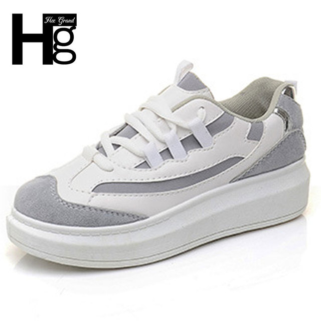Hee grand altura mayor colores mezclados zapatos de las mujeres 2017 de la moda coreana estudiante ocasional plataforma de zapatos de mujer tamaño 35-40 xwr071
